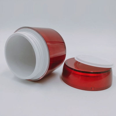 50g Red Acrylic Double Wall Plastic Emulsion Cream Jar For Skin Care