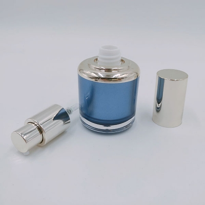 30ml Blue Gold Press Pump Bottle With Gold Cap