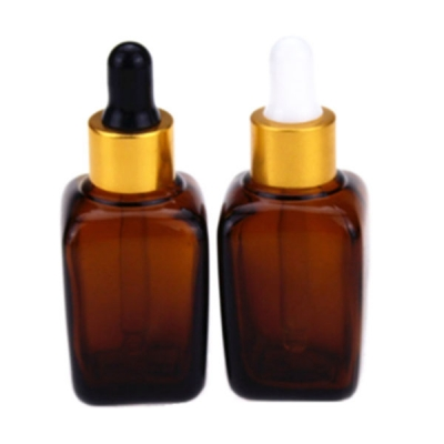 Wholesale 100ml Amber Square Glass Bottle With Gold Dropper Top
