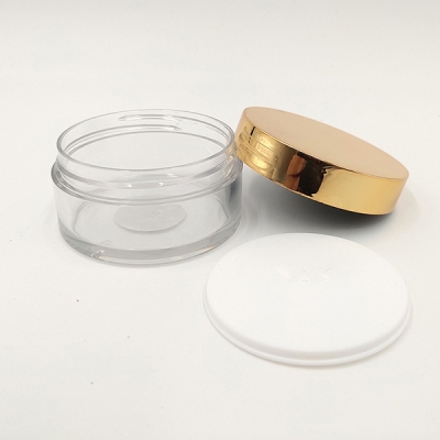 30g PET Plastic Transparent Face Cream Lotion Jar with Rose Gold Cap