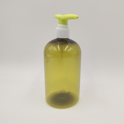 500ml Yellow Translucent Pet Bottle with Lotion Pupm