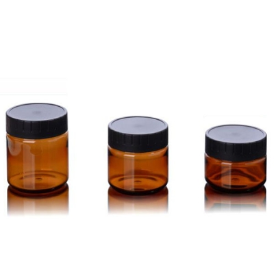 Luxury Amber 60g 100g 120g PET Cosmetic Jar With Black Screw Cap