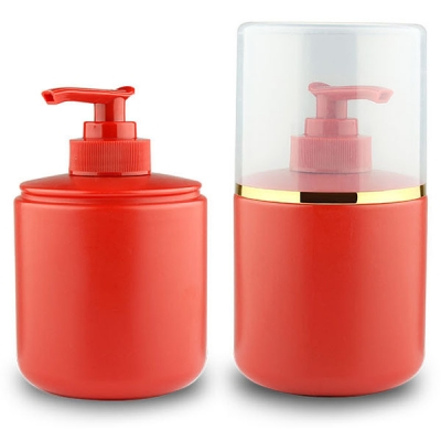 280ML Red PDPE Shampoo Packaging Bottle With Lotion Pump