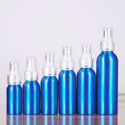 500ML Blue Metal Cosmetic Packaging Bottle With Spray Pump
